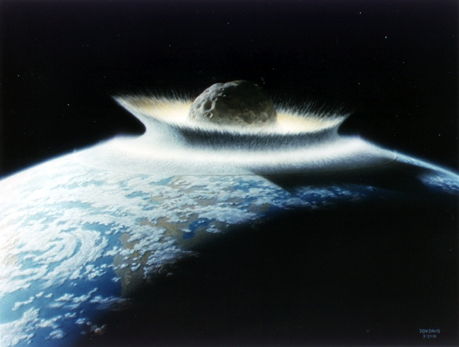 asteroid half into the Earth's crust