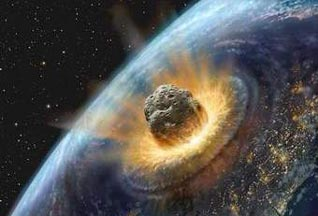 asteroid entering Earth's crust