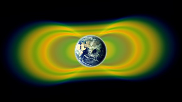 Two giant swaths of radiation, known as the Van Allen Belts, surrounding Earth were discovered in 1958. In 2012, observations from the Van Allen Probes showed that a third belt can sometimes appear. The radiation is shown here in yellow, with green representing the spaces between the belts. Credit: NASA/Van Allen Probes/Goddard Space Flight Center