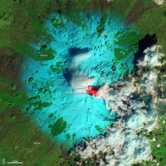 Lava flows on Mt. Etna visible from the The Advanced Land Imager (ALI) on the Earth Observing-1 (EO-1) satellite captured Etna on February 19, 2013. Credit: NASA