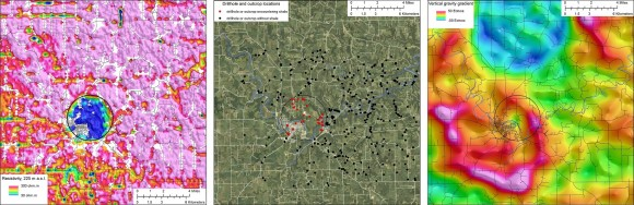 Three panel geophysical image of the Decorah, Iowa region. (Credit: USGS, click to enlarge).