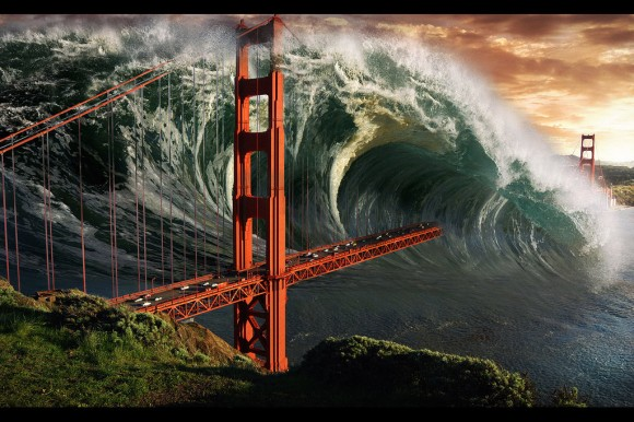 Sketch of the ensuing Tsunami caused by an impactor from Space (image credit: binouse49/devianart).